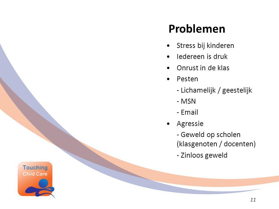 Stress bij kinderen Iedereen is druk Onrust in de klas Pesten - Lichamelijk / geestelijk - MSN - Email Agressie - Geweld op scholen (klasgenoten / docenten) - Zinloos geweld Problemen 11