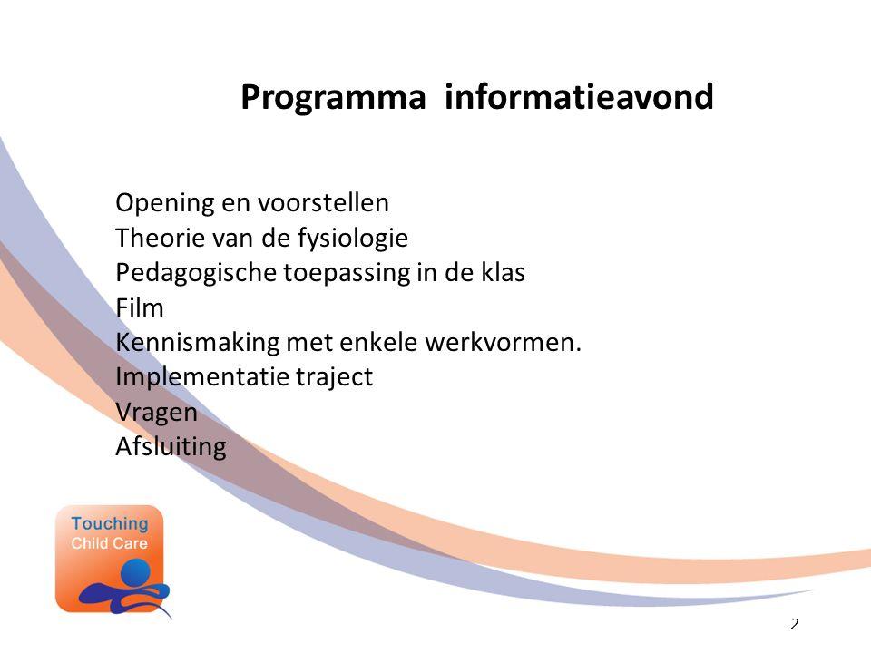 Opening en voorstellen Theorie van de fysiologie Pedagogische toepassing in de klas Film Kennismaking met enkele werkvormen.
