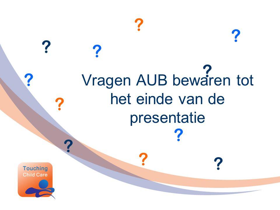 Vragen AUB bewaren tot het einde van de presentatie ? ? ? ? ? ? ? ? ? ? ?