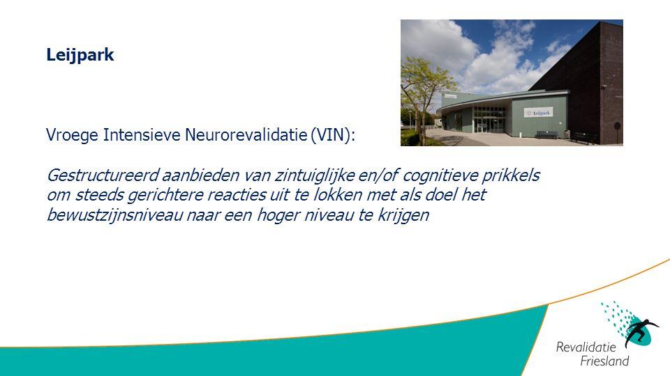 Leijpark Vroege Intensieve Neurorevalidatie (VIN): Gestructureerd aanbieden van zintuiglijke en/of cognitieve prikkels om steeds gerichtere reacties uit te lokken met als doel het bewustzijnsniveau naar een hoger niveau te krijgen