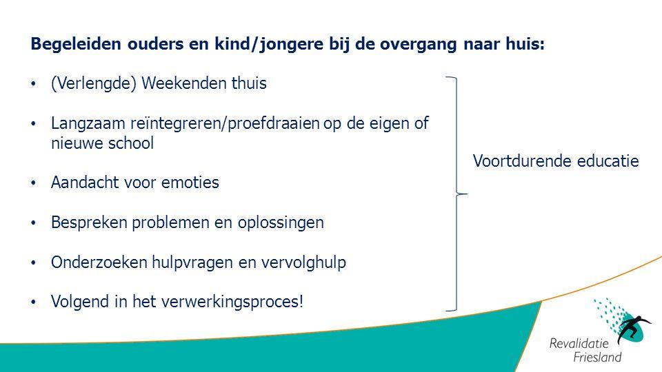 Begeleiden ouders en kind/jongere bij de overgang naar huis: (Verlengde) Weekenden thuis Langzaam reïntegreren/proefdraaien op de eigen of nieuwe scho