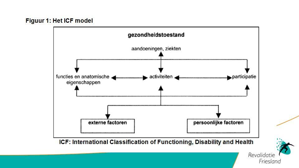 ICF-CY model (2007) International Classification of Functioning, Disability and Health Children and Youth Functies en structuren Activiteiten: menselijk handelen Participatie: deelname maatschappelijk leven