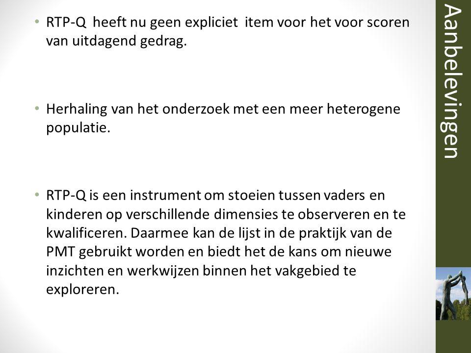 RTP-Q heeft nu geen expliciet item voor het voor scoren van uitdagend gedrag. Herhaling van het onderzoek met een meer heterogene populatie. RTP-Q is