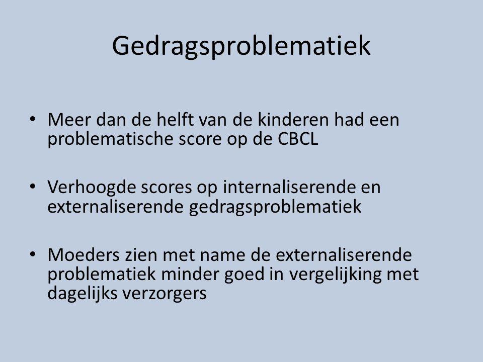 Gedragsproblematiek Meer dan de helft van de kinderen had een problematische score op de CBCL Verhoogde scores op internaliserende en externaliserende