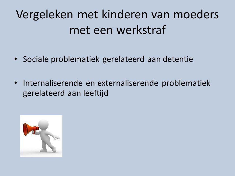 Vergeleken met kinderen van moeders met een werkstraf Sociale problematiek gerelateerd aan detentie Internaliserende en externaliserende problematiek