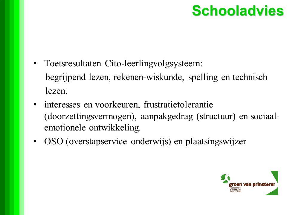 Toetsresultaten Cito-leerlingvolgsysteem: begrijpend lezen, rekenen-wiskunde, spelling en technisch lezen.