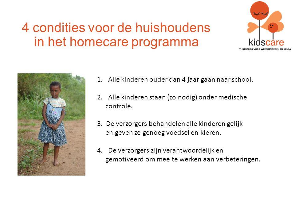 4 condities voor de huishoudens in het homecare programma 1.Alle kinderen ouder dan 4 jaar gaan naar school.