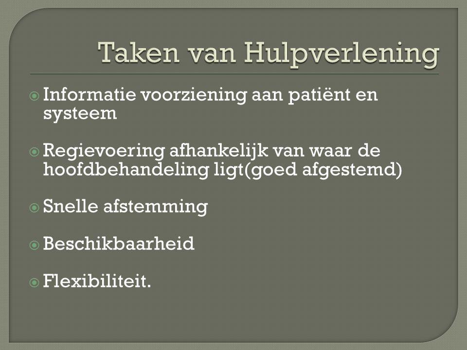  Informatie voorziening aan patiënt en systeem  Regievoering afhankelijk van waar de hoofdbehandeling ligt(goed afgestemd)  Snelle afstemming  Bes