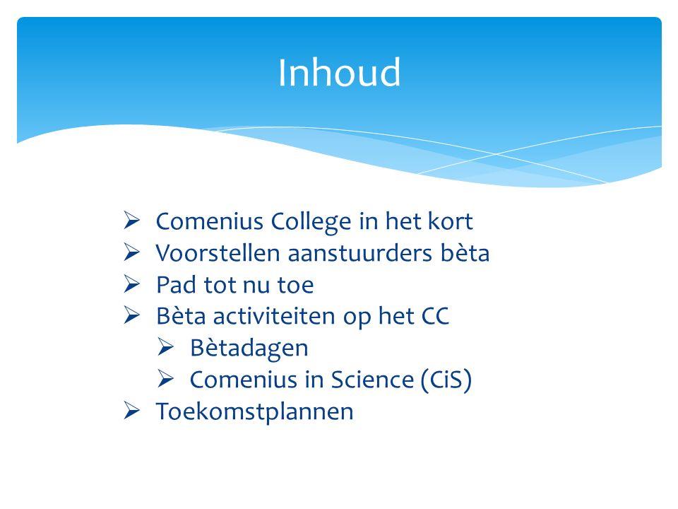 Inhoud  Comenius College in het kort  Voorstellen aanstuurders bèta  Pad tot nu toe  Bèta activiteiten op het CC  Bètadagen  Comenius in Science