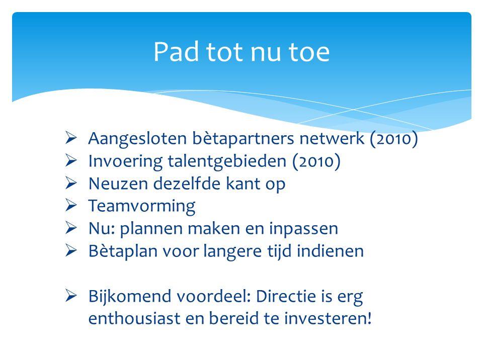 Pad tot nu toe  Aangesloten bètapartners netwerk (2010)  Invoering talentgebieden (2010)  Neuzen dezelfde kant op  Teamvorming  Nu: plannen maken