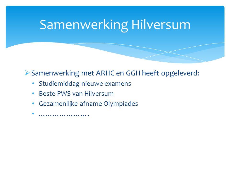  Samenwerking met ARHC en GGH heeft opgeleverd: Studiemiddag nieuwe examens Beste PWS van Hilversum Gezamenlijke afname Olympiades …………………. Samenwerk