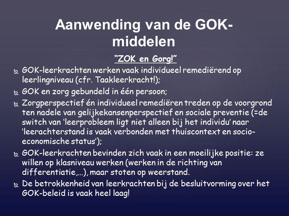 ZOK en Gorg!   GOK-leerkrachten werken vaak individueel remediërend op leerlingniveau (cfr.