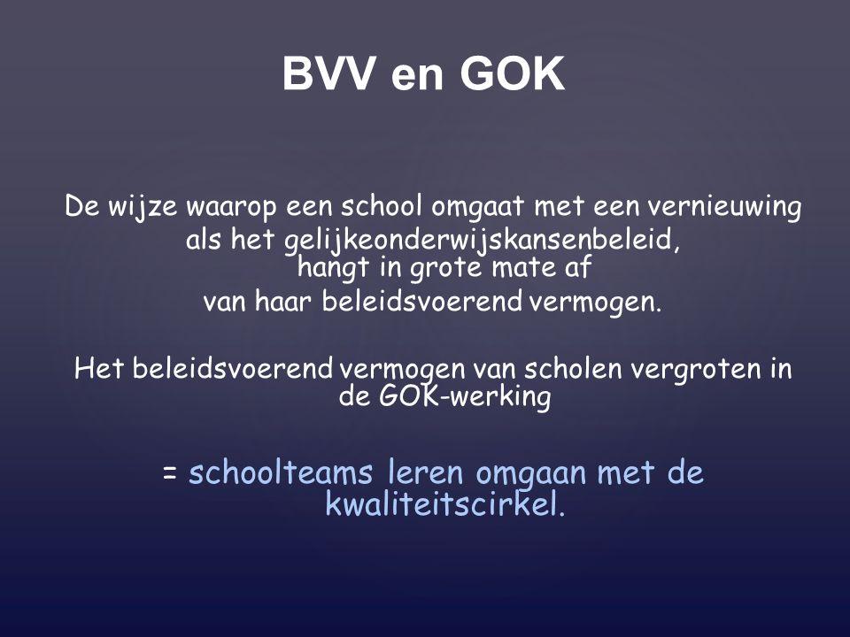 BVV en GOK De wijze waarop een school omgaat met een vernieuwing als het gelijkeonderwijskansenbeleid, hangt in grote mate af van haar beleidsvoerend vermogen.