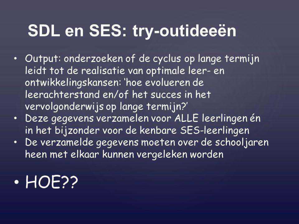 SDL en SES: try-outideeën Output: onderzoeken of de cyclus op lange termijn leidt tot de realisatie van optimale leer- en ontwikkelingskansen: 'hoe evolueren de leerachterstand en/of het succes in het vervolgonderwijs op lange termijn ' Deze gegevens verzamelen voor ALLE leerlingen én in het bijzonder voor de kenbare SES-leerlingen De verzamelde gegevens moeten over de schooljaren heen met elkaar kunnen vergeleken worden HOE