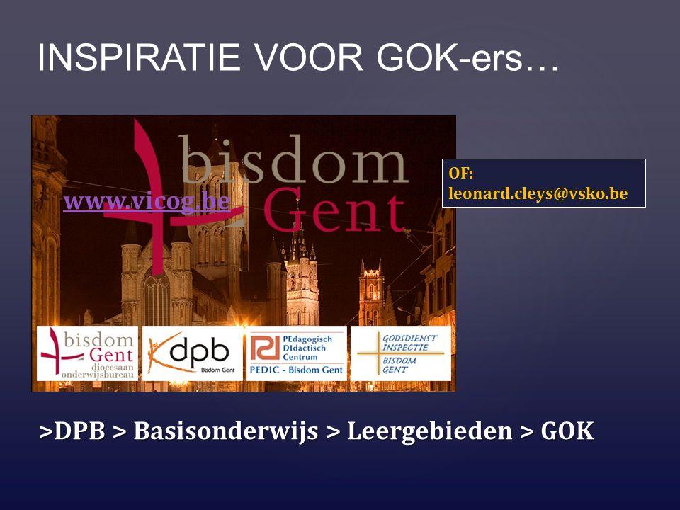 INSPIRATIE VOOR GOK-ers… www.vicog.be >DPB > Basisonderwijs > Leergebieden > GOK OF: leonard.cleys@vsko.be