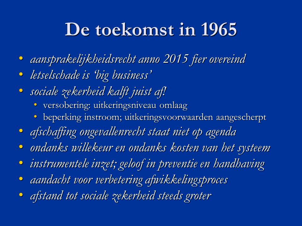 De toekomst in 1965 aansprakelijkheidsrecht anno 2015 fier overeind aansprakelijkheidsrecht anno 2015 fier overeind letselschade is 'big business' letselschade is 'big business' sociale zekerheid kalft juist af.