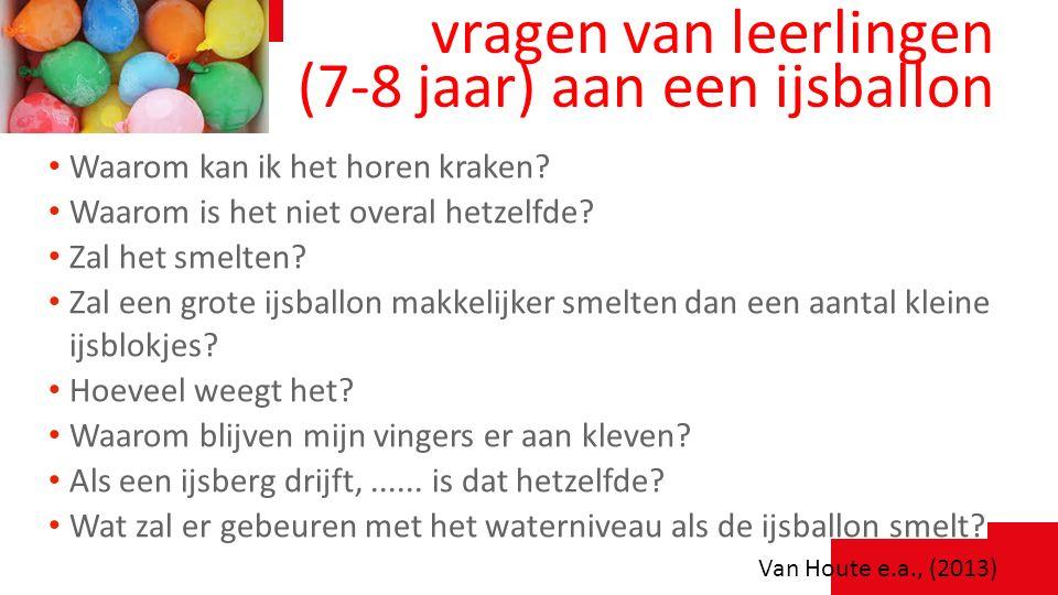 vragen van leerlingen (7-8 jaar) aan een ijsballon Waarom kan ik het horen kraken? Waarom is het niet overal hetzelfde? Zal het smelten? Zal een grote