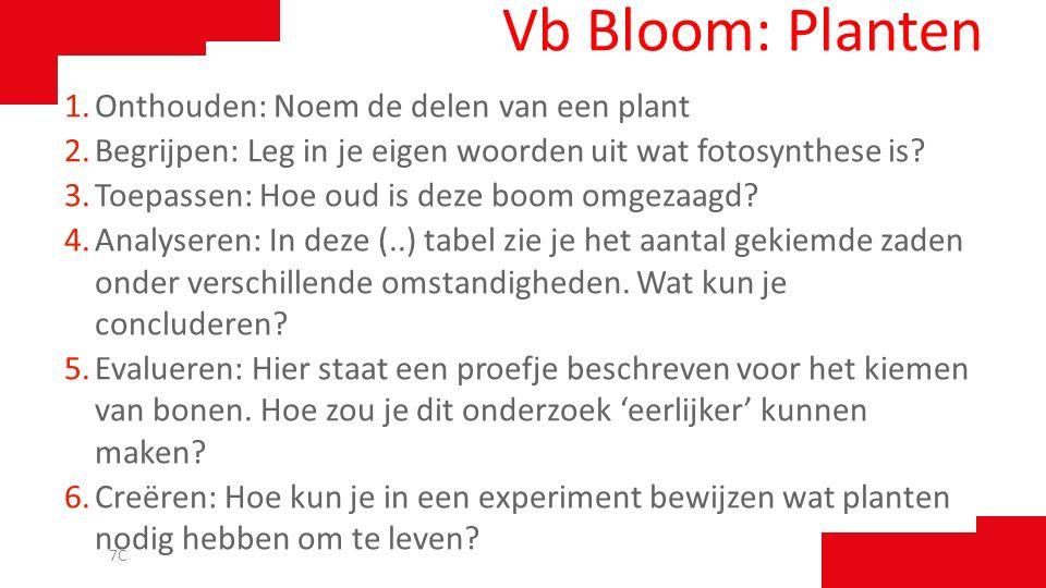 Vb Bloom: Planten 1.Onthouden: Noem de delen van een plant 2.Begrijpen: Leg in je eigen woorden uit wat fotosynthese is? 3.Toepassen: Hoe oud is deze