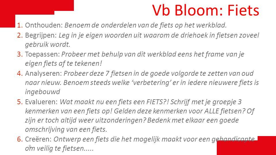 Vb Bloom: Fiets 1.Onthouden: Benoem de onderdelen van de fiets op het werkblad. 2.Begrijpen: Leg in je eigen woorden uit waarom de driehoek in fietsen