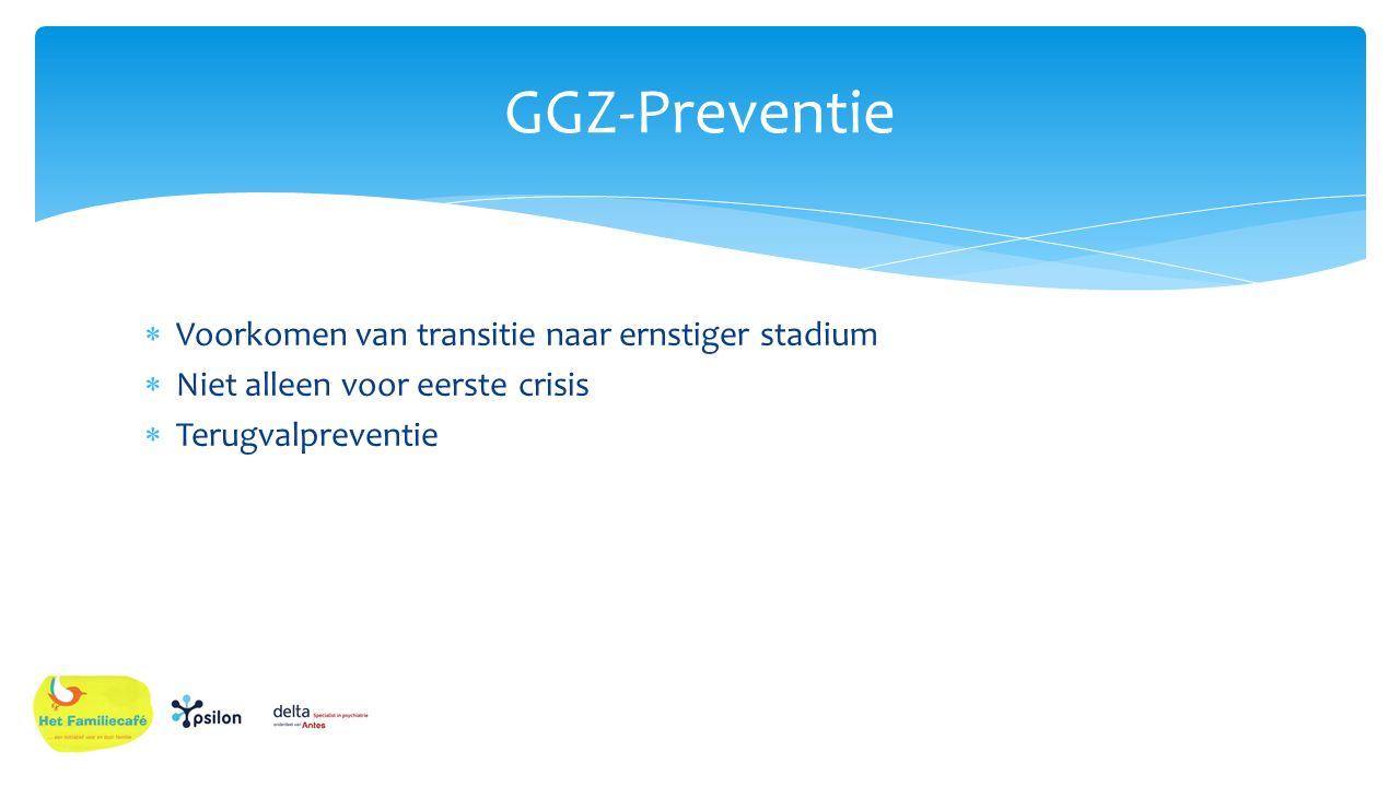  Voorkomen van transitie naar ernstiger stadium  Niet alleen voor eerste crisis  Terugvalpreventie GGZ-Preventie