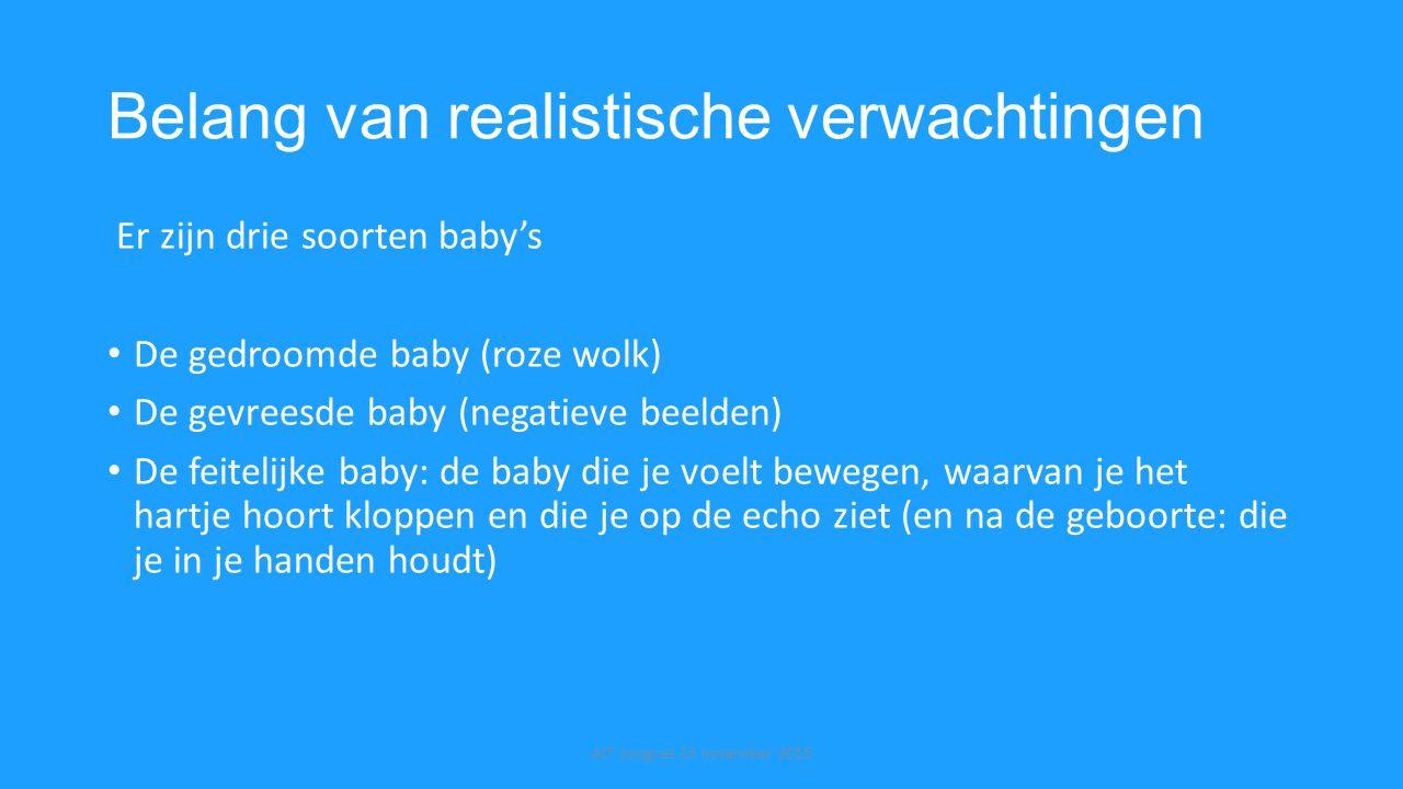 Belang van realistische verwachtingen Er zijn drie soorten baby's De gedroomde baby (roze wolk) De gevreesde baby (negatieve beelden) De feitelijke ba
