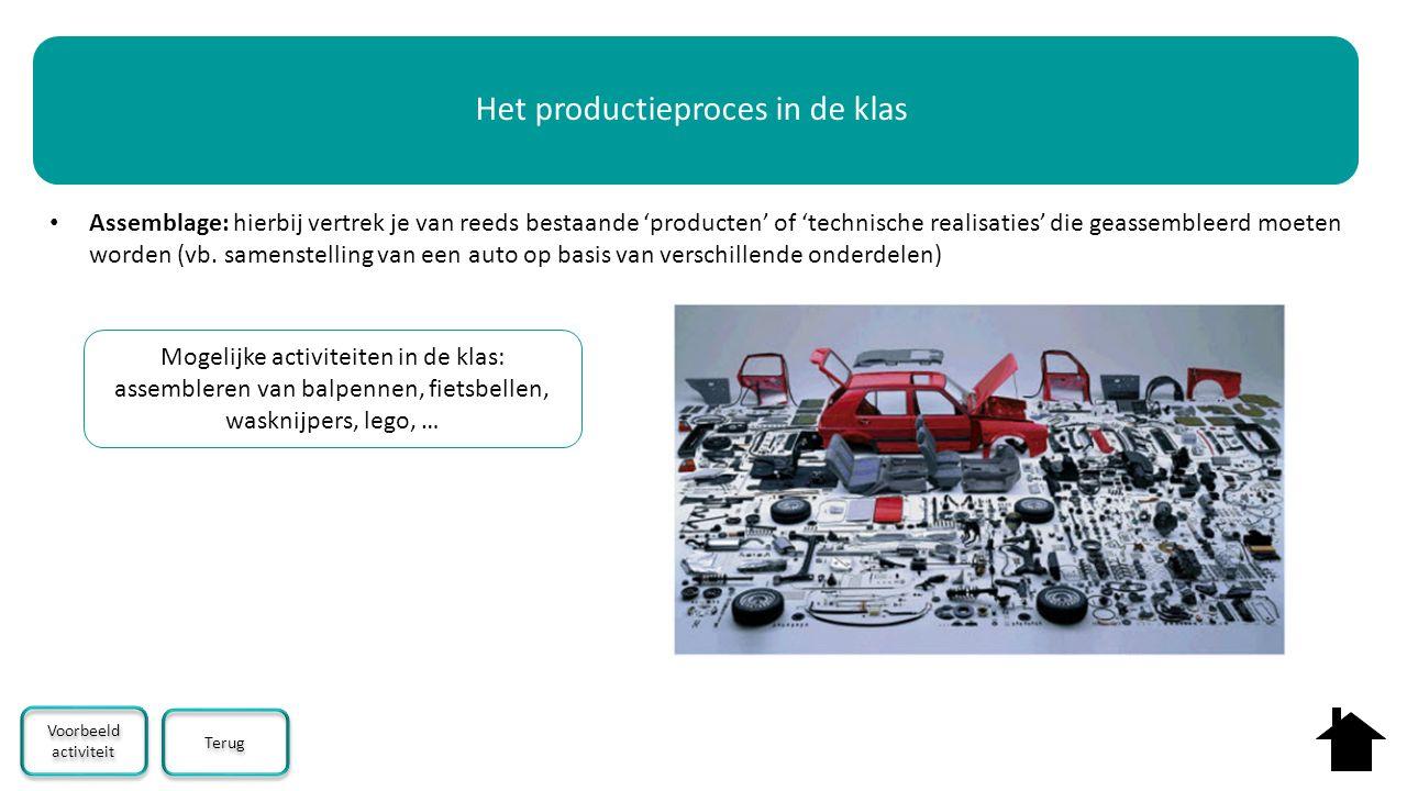 Assemblage: hierbij vertrek je van reeds bestaande 'producten' of 'technische realisaties' die geassembleerd moeten worden (vb. samenstelling van een