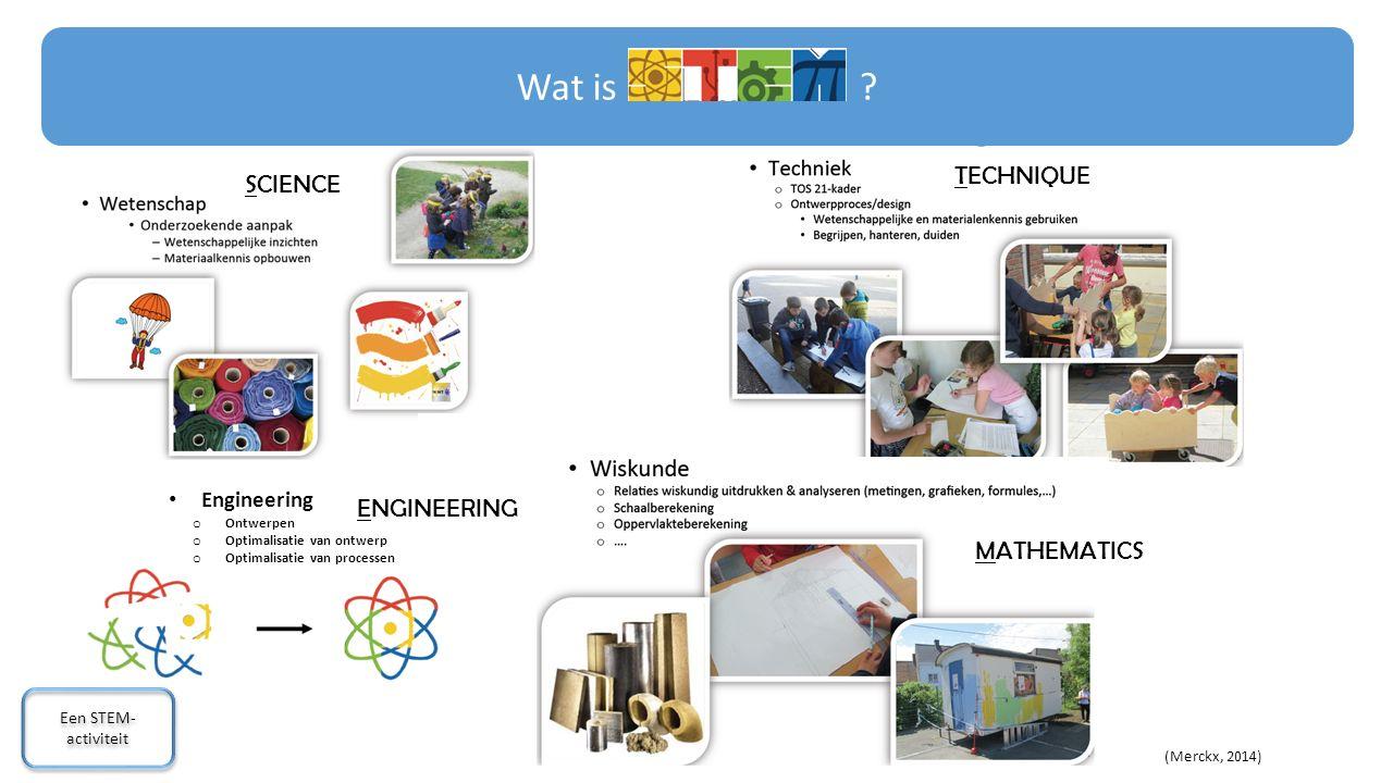 Engineering o Ontwerpen o Optimalisatie van ontwerp o Optimalisatie van processen (Merckx, 2014) Wat is ? Een STEM- activiteit Een STEM- activiteit SC