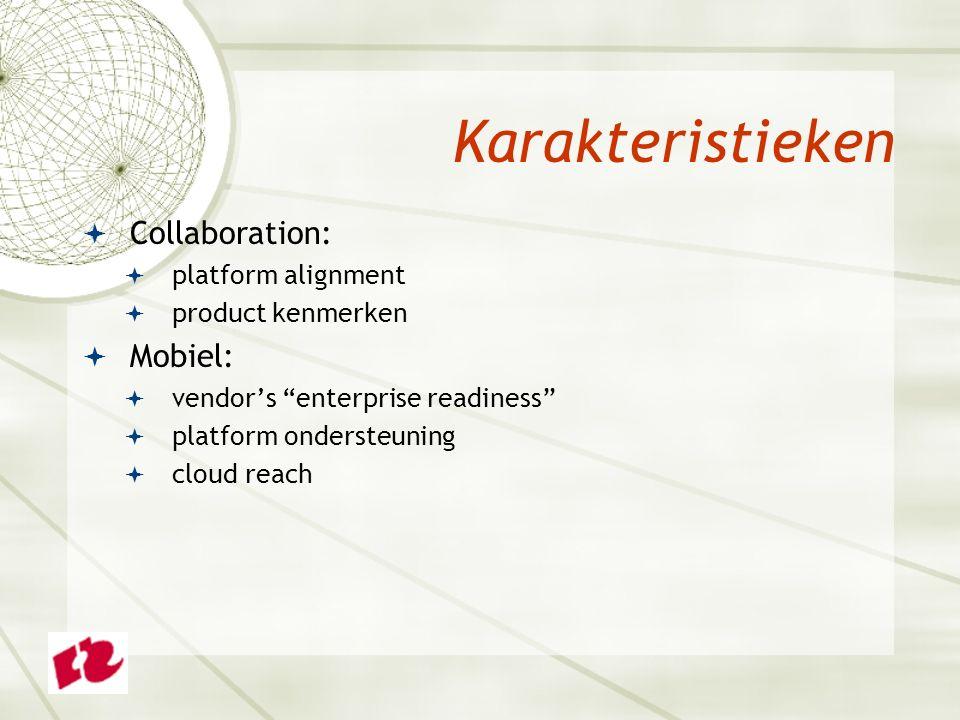 " Collaboration:  platform alignment  product kenmerken  Mobiel:  vendor's ""enterprise readiness""  platform ondersteuning  cloud reach Karakteri"