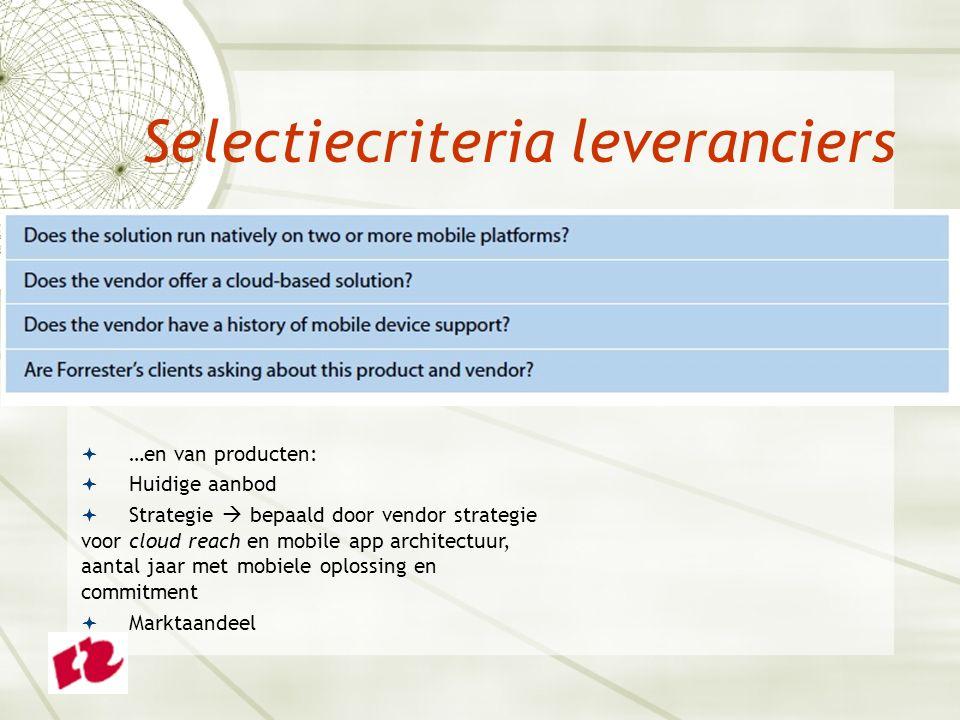 Selectiecriteria leveranciers  …en van producten:  Huidige aanbod  Strategie  bepaald door vendor strategie voor cloud reach en mobile app architectuur, aantal jaar met mobiele oplossing en commitment  Marktaandeel