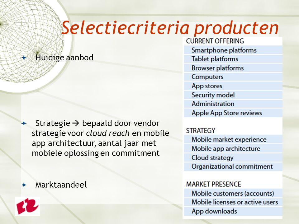 Selectiecriteria producten  Huidige aanbod  Strategie  bepaald door vendor strategie voor cloud reach en mobile app architectuur, aantal jaar met mobiele oplossing en commitment  Marktaandeel