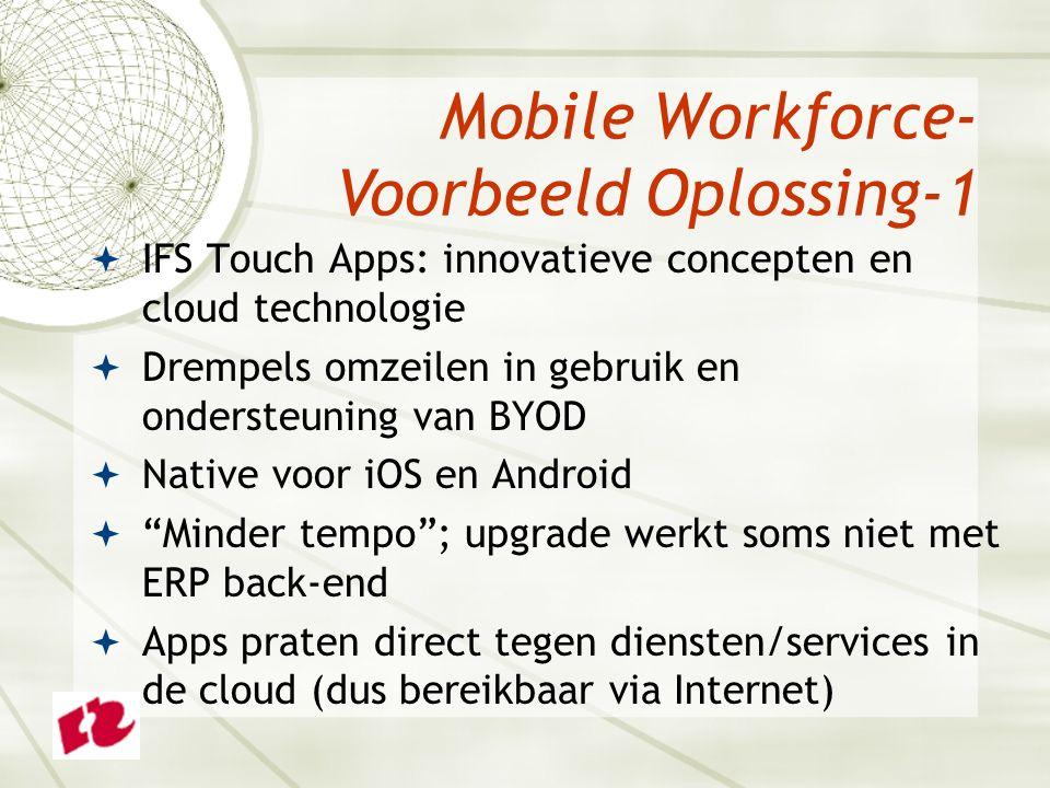  IFS Touch Apps: innovatieve concepten en cloud technologie  Drempels omzeilen in gebruik en ondersteuning van BYOD  Native voor iOS en Android  Minder tempo ; upgrade werkt soms niet met ERP back-end  Apps praten direct tegen diensten/services in de cloud (dus bereikbaar via Internet) Mobile Workforce- Voorbeeld Oplossing-1