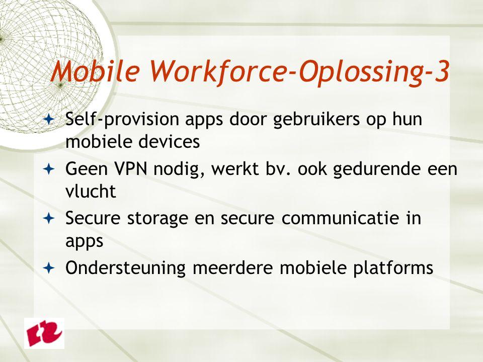  Self-provision apps door gebruikers op hun mobiele devices  Geen VPN nodig, werkt bv. ook gedurende een vlucht  Secure storage en secure communica