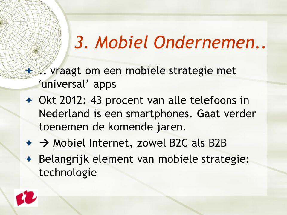 .. vraagt om een mobiele strategie met ʻ universal' apps  Okt 2012: 43 procent van alle telefoons in Nederland is een smartphones. Gaat verder toene