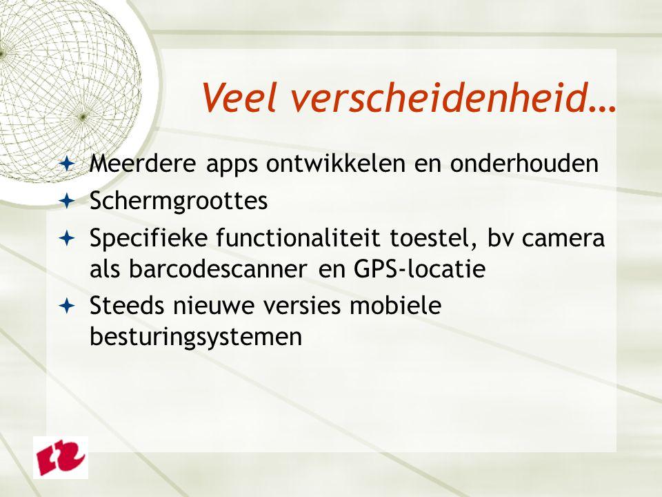 Meerdere apps ontwikkelen en onderhouden  Schermgroottes  Specifieke functionaliteit toestel, bv camera als barcodescanner en GPS-locatie  Steeds