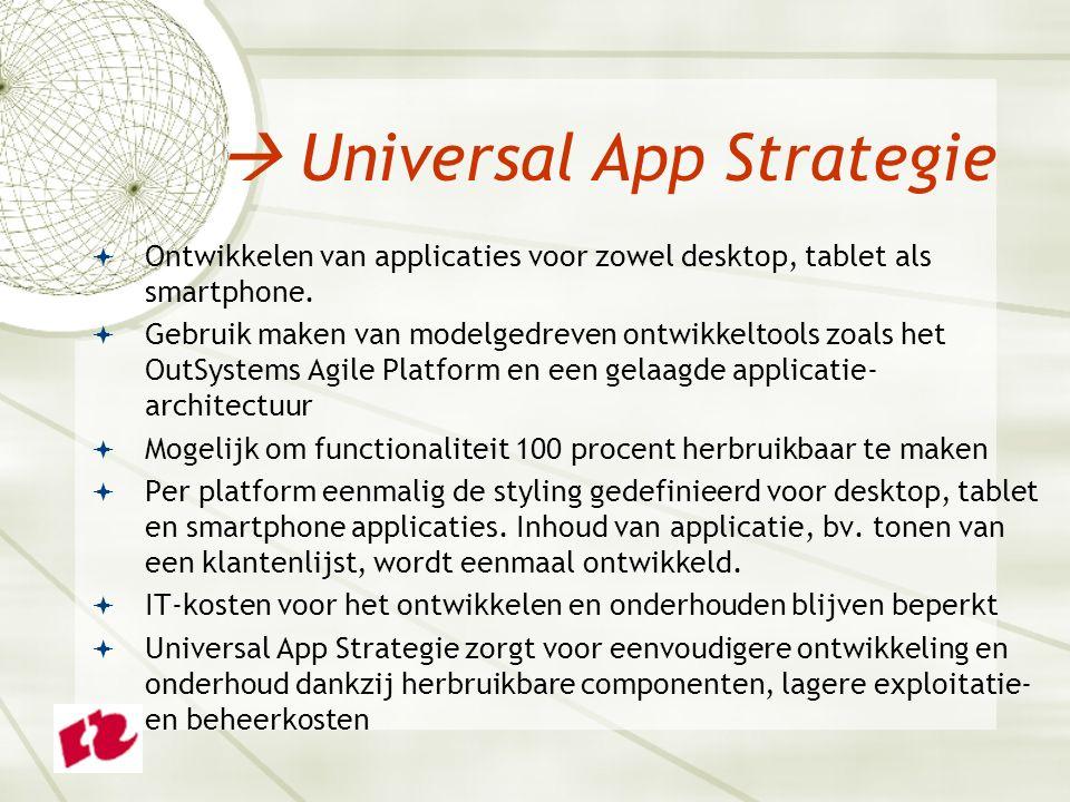  Ontwikkelen van applicaties voor zowel desktop, tablet als smartphone.  Gebruik maken van modelgedreven ontwikkeltools zoals het OutSystems Agile P