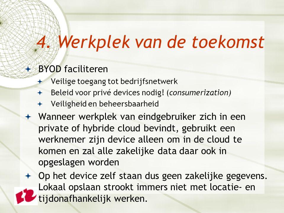  BYOD faciliteren  Veilige toegang tot bedrijfsnetwerk  Beleid voor privé devices nodig! (consumerization)  Veiligheid en beheersbaarheid  Wannee