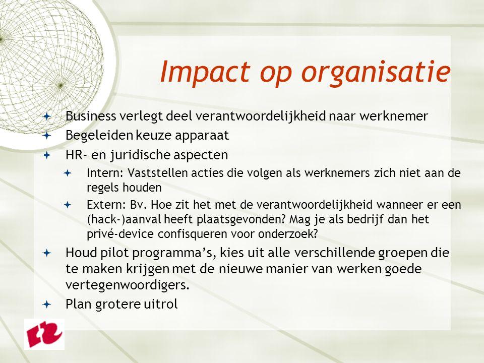  Business verlegt deel verantwoordelijkheid naar werknemer  Begeleiden keuze apparaat  HR- en juridische aspecten  Intern: Vaststellen acties die