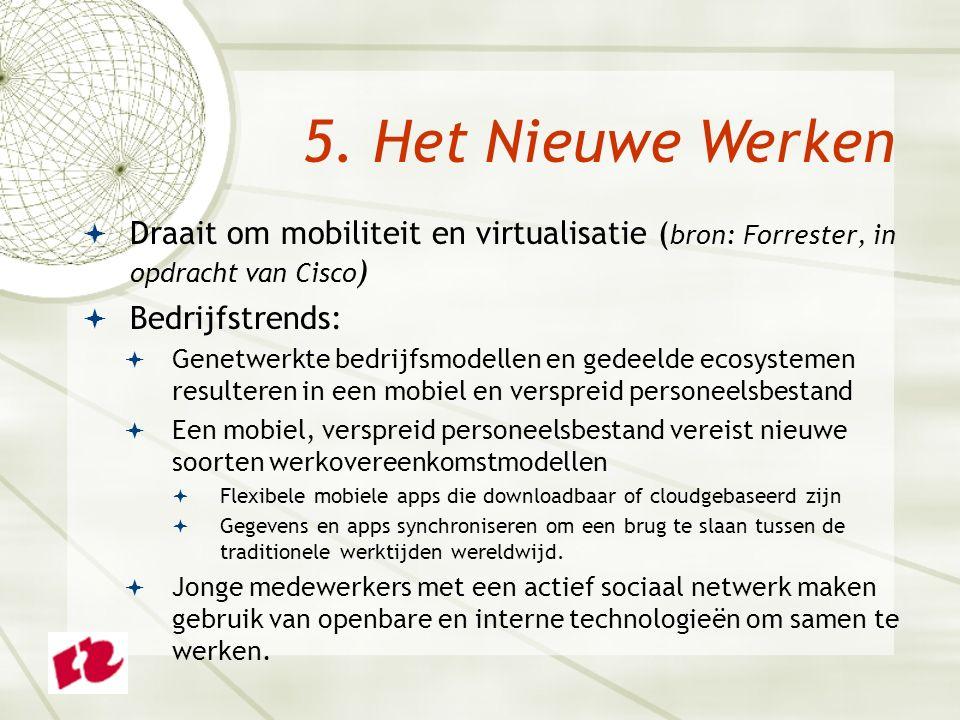  Draait om mobiliteit en virtualisatie ( bron: Forrester, in opdracht van Cisco )  Bedrijfstrends:  Genetwerkte bedrijfsmodellen en gedeelde ecosys