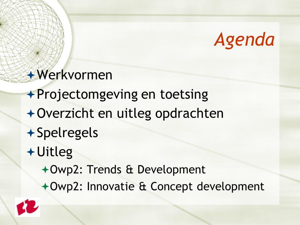 Agenda  Werkvormen  Projectomgeving en toetsing  Overzicht en uitleg opdrachten  Spelregels  Uitleg  Owp2: Trends & Development  Owp2: Innovatie & Concept development