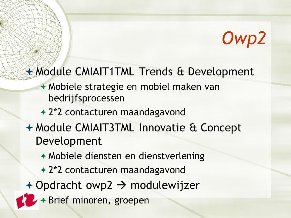 Owp2  Module CMIAIT1TML Trends & Development  Mobiele strategie en mobiel maken van bedrijfsprocessen  2*2 contacturen maandagavond  Module CMIAIT