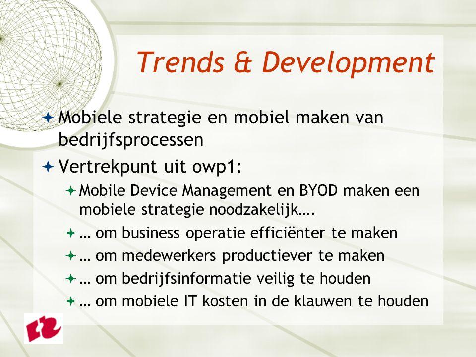 Trends & Development  Mobiele strategie en mobiel maken van bedrijfsprocessen  Vertrekpunt uit owp1:  Mobile Device Management en BYOD maken een mo