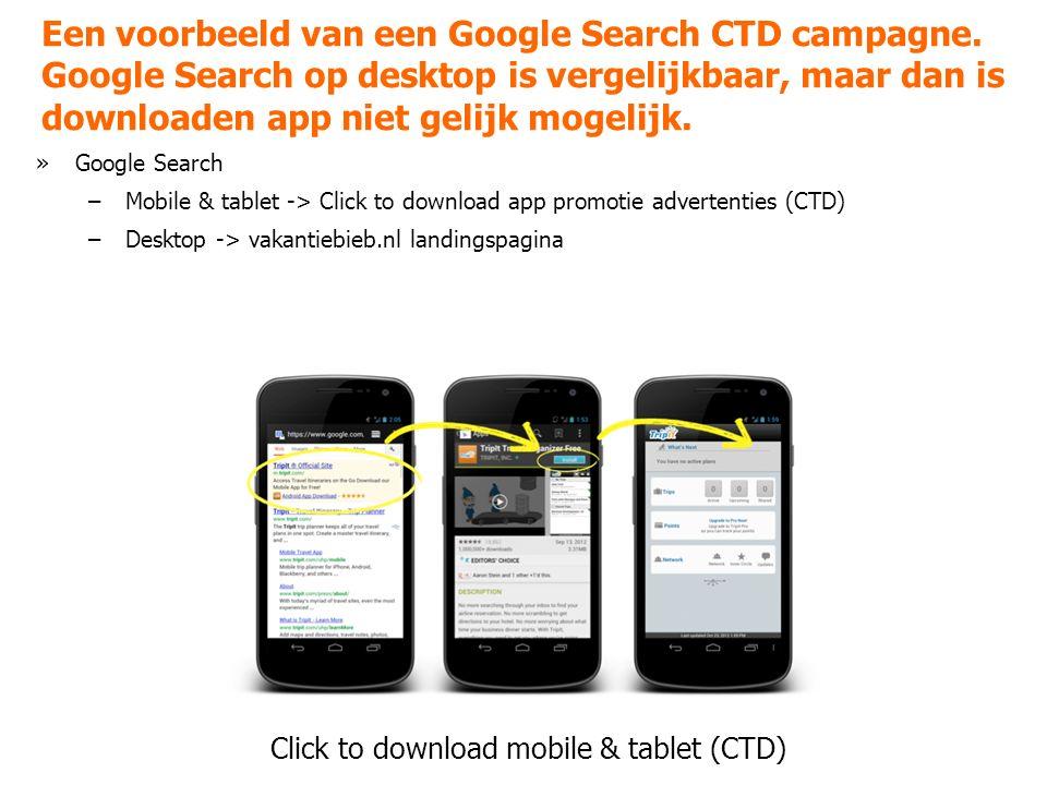 Een voorbeeld van een Google Search CTD campagne.