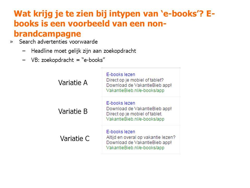 Wat krijg je te zien bij intypen van 'e-books'.