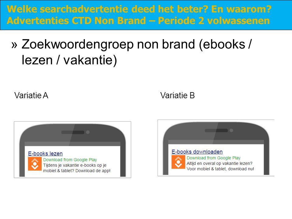 »Zoekwoordengroep non brand (ebooks / lezen / vakantie) Welke searchadvertentie deed het beter.