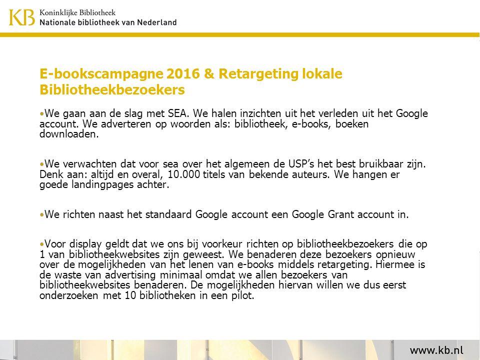 E-bookscampagne 2016 & Retargeting lokale Bibliotheekbezoekers We gaan aan de slag met SEA.