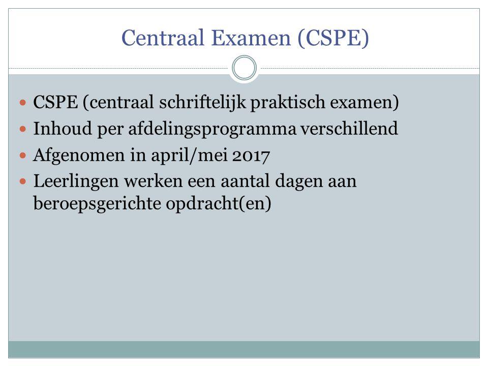 Centraal Examen (CSPE) CSPE (centraal schriftelijk praktisch examen) Inhoud per afdelingsprogramma verschillend Afgenomen in april/mei 2017 Leerlingen