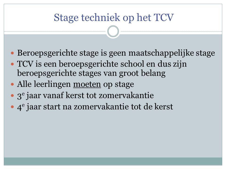 Stage techniek op het TCV Beroepsgerichte stage is geen maatschappelijke stage TCV is een beroepsgerichte school en dus zijn beroepsgerichte stages va