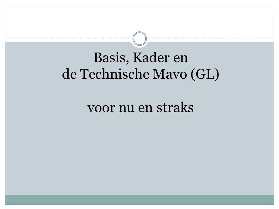 Basis, Kader en de Technische Mavo (GL) voor nu en straks