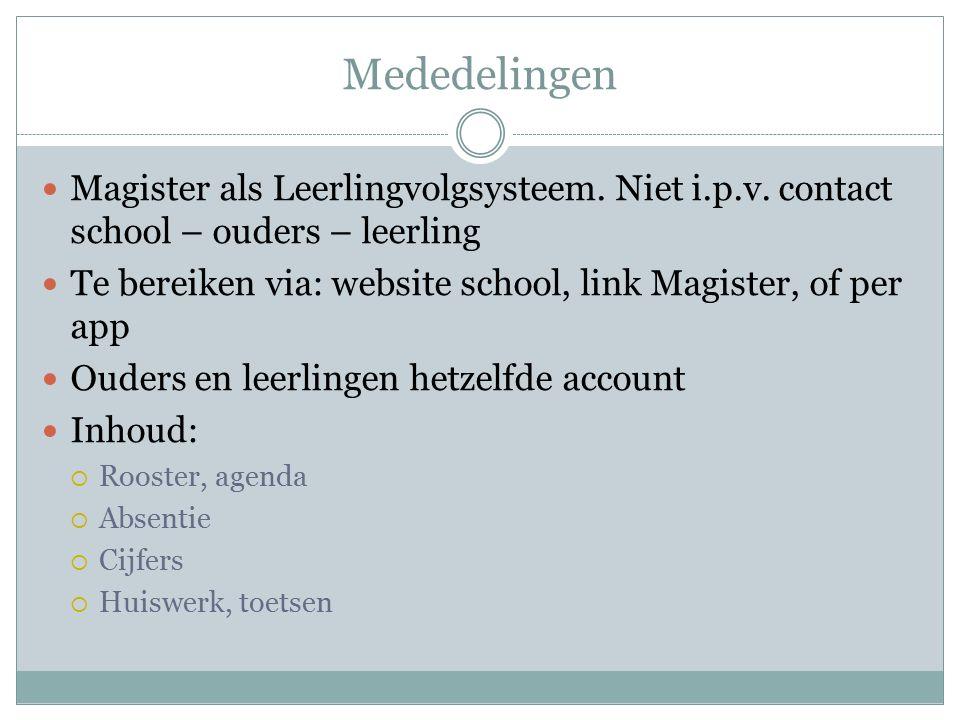 Mededelingen Magister als Leerlingvolgsysteem. Niet i.p.v. contact school – ouders – leerling Te bereiken via: website school, link Magister, of per a
