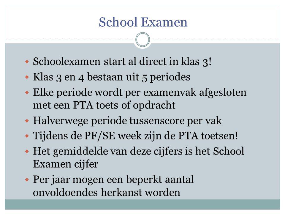 School Examen  Schoolexamen start al direct in klas 3!  Klas 3 en 4 bestaan uit 5 periodes  Elke periode wordt per examenvak afgesloten met een PTA